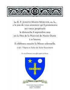 Profession perpétuelle du R.P. Joseph-Marie Mercier